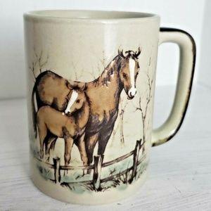 Otagiri Japan Vintage Coffee Mug Horse Mare Foal